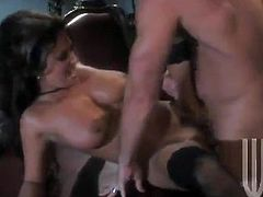 Gorgeous brunette milf Felicia Fox is having fun with some horny stud in an office. She drives him crazy with a blowjob and then moves her legs wide apart and gets her coochie smashed.