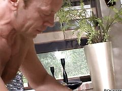 Donna Bell and hard cocked fuck buddy Rocco Siffredi having vigorous anal sex