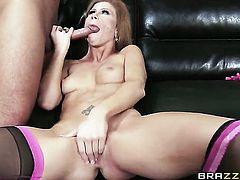 Brooklyn Lee does oral job for hard cocked bang buddy Keiran Lee to enjoy