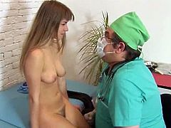 Teen pussy gets examined and fingered by this horny gynecologist. This youngster was here for some tests but this doctor knows how to take advantage of her wet slit.