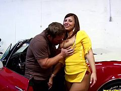 Curvy brunette Lexxxi Lockhart has ardent sex in a garage