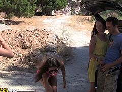 Three hot dressed bitches spend time on outing with studs. And this bombshell showed their snatches that get poked after giving a blow, have look in WTF Pass xxx video.