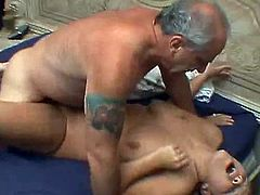 Sweet blonde feels awesome with a senior cock drilling deep in her fatty cunt