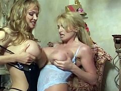 Horny lesbian mother and daughter sizzling massive boobs collision and nasty pussy fun.