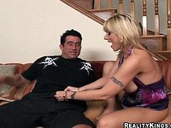 Have a blast watching this blonde cougar, with a great ass and big breasts, while she goes really hardcore with an aroused fellow.