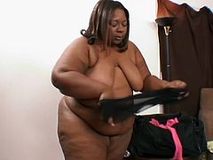 Check this ebony BBW, with a giant black butt wearing sexy lingerie, while she gets her pussy licked and her ass fucked by lovely men.