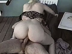 A slutty blonde chick shows her bushy pussy to her BF and lets him finger-fuck it. Then they bang in the reverse cowgirl position and seem to be unable to stop.