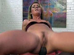 Sheena Shaw satisfying monster black cock. She's giving her all to give this massive tool the enjoyment he deserves. She is definitely doing her tight holes a favor too.