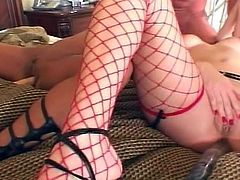 Awesome threesome as sweet brunette and lovely red haired sluts share huge cock for sizzling drilling afternoon.