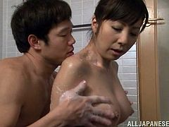 Japanese milf Kimika Ichijou and her GF are playing dirty games with some dude in the bathroom. They let him knead their boobs and then kneel in front of him and suck his wang ardently.