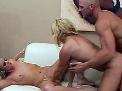 Hardcore threesome with two blondes after hot party