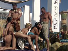 SO HOT! Egyptian pharaohs and their slaves! They get outside in the hot African sun in their jeweled underwear, fucking away! Nice pussies, beautiful tits! Spunk swap drizzling from their slave mouths!