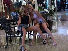 Alison and her girlfriend hit the mall in very short skirts that allow them to flash their perfect asses while they shop.