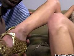 Laura Crystal is making up for lost time. Actually, she's never really had much experience with black cock since interracial porn isn't that big in Europe. We had Laura come in to jerk off Sean Michaels' huge black cock with her feet but not before finding out about her wild ways.