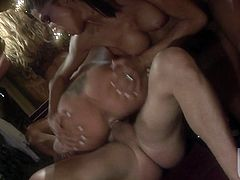 These girls are big hot nymphos! Big curvy titties, nice asses, all getting pounded by these studs! They suck those cocks to get them hard and wet then they go crazy wild!