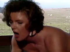 Voracious dark haired big assed tramp came to see how her mate was doing. She gave his hot cock sweet suck and then bounced on it in reverse cowgirl pose. Take a look at this slut in The Classic Porn sex clip!