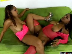 Couple of hot as hell ebony bombshells give terrific lesbian show. Black curvy chicks finger fuck and lick each other's soaking wet pussies before sharing one big double ended dildo.