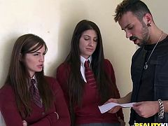 Two cute girls from a private college go wild with a bad guy. They are righteous girls, but this time they forget about everything. A guy fucks these cuties deep in their tight pussies.