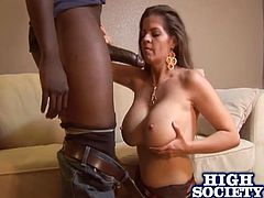 June Summers shows her big boobs and then gives a blowjob to the Black dude. He licks June's pussy and then bangs the girl. He can make any girl scream because his dick is really big.