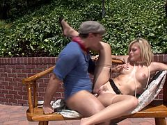 She gets his attention and his big white loaf! Outside she strips to her lingerie and blows this guy, offering up her hot snatch for his delight!