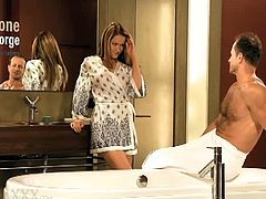 Simone is on the edge of orgasm throughout the whole scene, we knew such a highly sexed couple would create some of the most mind blowing scenes we've ever made and even off camera they were very affectionate and couldn't wait for round two... George has the stamina most men dream of and teamed with his ripped body he is able to lift Simone into position with ease, creating the most amazing angles that set her body on fire. It was a jot to watch Simone be filled with such pleasure as George pummelled into her over and over, his eyes firmly locked onto hers as all she could do was let herself b