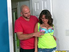 Busty curly-haired slut Chrissy Greene is having fun with some man indoors. She lets him eat her coochie and then they fuck in side-by-side and other positions.