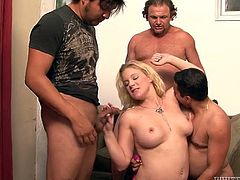 Filthy tattooed chubby housewife serves her fuckholes for three fresh cocks. One guy eats her dirty asshole while mommy sucks two fat dicks. Milfie gets fucked doggystyle and rides her studs in reverse cowgirl pose in turn.