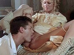 Sexy blonde Jessica Drake wearing a medieval dress is having fun with some man in a boudoir. Jessica favours the guy with a blowjob and then they bang doggy style and other positions.