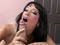 Scorching hot babe with raven hair exposes her round ass. Girl rubs her asshole before giving her man stunning blowjob. Horny babe gets on top and rides that pole in cowgirl pose.