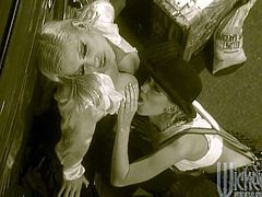 Its 1920's gangster porn, two smokin hot chicks licking and rimming and ramming toys up their holes! So hot in their heels and suspenders!