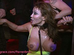 Watch the perverse brunette slut Ava Devine getting her mouth and pussy banged during a wild sex party. After a nasty slut fists her pussy, it's time for her to endure a hot gangbang that includes some wild dping!