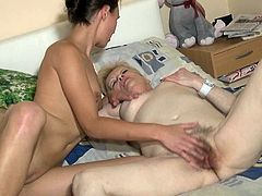 Pretty brunette horny whore and her nanny play with each other