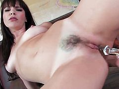 Flirtatious tramp Dana DeArmond strips to give a close-up of her honeypot in solo scene