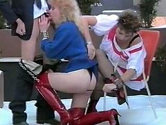 Cunny haunted short haired bitch and blond head curvy chick got one giant dick available. They chained that stud and attacked his buddy powerfully. watch this cruel 3some fuck in The Classic Porn sex clip!