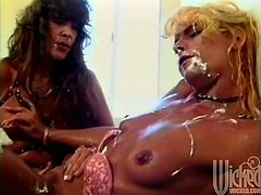 They get out their toys, break out some food and oil themselves up as these two hotties work each other's tight, wet pussies.
