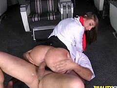 She is so fucking in love with the pilot of their board. So, honey gives an incredible blowjob to him and he sticks his cock right in the business class saloon.
