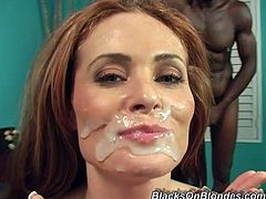 Be part of this threesome where a redhead cougar, with big knockers and a shaved kitty, while she goes hardcore with two steamy fellows.