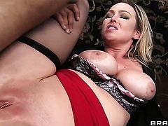Danny Mountain pops out his ram rod to fuck Abbey Brooks with giant breasts in the back swing