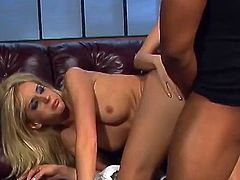 Salacious blonde Kelly Wells and her GF give a blowjob to some black dude. Then they get fucked doggy style and in missionary position and enjoy it much.