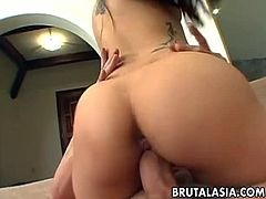 Brutal Asia brings you a hell of a free porn video where you can see how the alluring Asian brunette Nyomi Zen and her girlfriend share a hard rod of meat.
