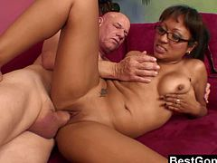 Checkout this brunette office slut in this hardcore video.Her name is Jasmine Lopez and she loves big hard cocks.See how she gets foot massage and then pussy fuck on the couch.