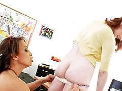 Violet Monroe gets used like a fuck toy by horny lesbian Nicki Hunter
