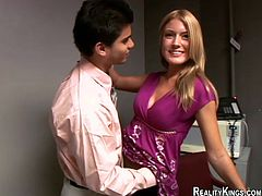 Slim blonde cutie is having fun with some man in an office. She kneels in front of the dude and satisfies him with a deepthroat blowjob.