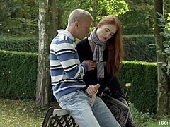 Take a look at this hardcore scene where the gorgeous redhead teen Denisa Heaven fuck on a park bench as you can clearly see this couple having a great time.