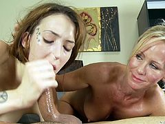 Simone Sonay and Jenna Justine are having fun with some dude indoors. The blonde mom shows her blowjob and handjob skills to the man and teaches the brunette to do the same.