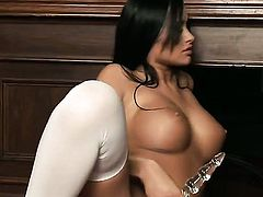 Claudia Capri with huge tits and clean snatch enjoys another masturbation session