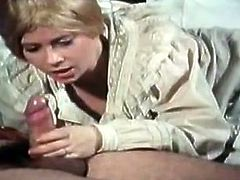 This morning eye catching blond cutie is gonna have her first blowjob. She is a little bit afraid of that. Her old fucker cheers her up by pussy licking and fingering. And she got excellent! Watch this unskilful sweetie in The Classic Porn sex clip!