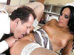 Teen Bettina Dicapri enjoys the warmth of hard meat stick deep in her vagina