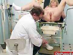 Josefina is an old blonde woman who goes through a thorough pussy examination. Her doctor inserts a speculum in her cunt hole and gives her an enema as well.