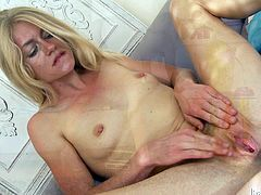 Get a load of this hot scene where the beautiful blonde Bella Bends penetrates both her wet pussy and tight asshole with a dildo.